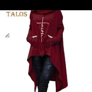 Red wine embroidery faith poncho hoodie